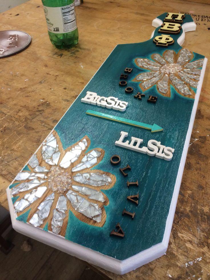 Sorority paddle with flowered mosaic. Pi beta phi