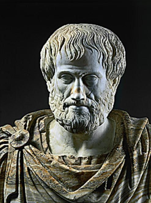 Aristotle, philosopher, teacher of Alexander the Great, (384-332 BCE). Roman marble copy of a Greek bronze.  Museo Nazionale Romano, Rome, Italy