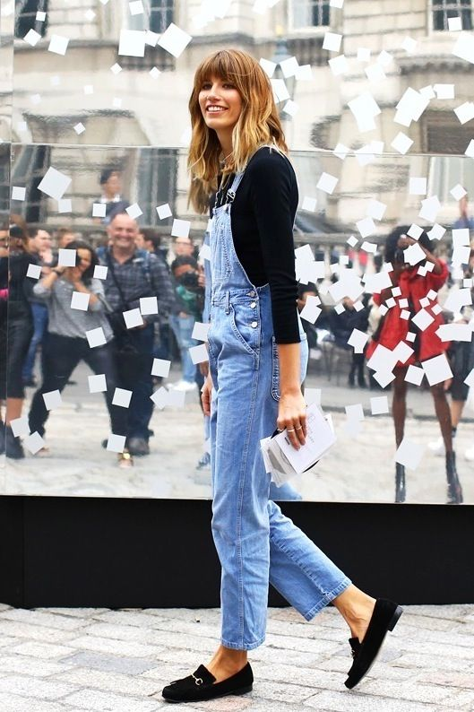 Veronika Heilbrunner // black tee, denim overalls & loafers #style #fashion #bangs #streetstyle | @andwhatelse