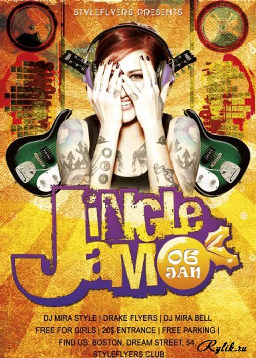 Шаблон флаера для фотошопа. Jingle Jam Party PSD V7 Flyer Template