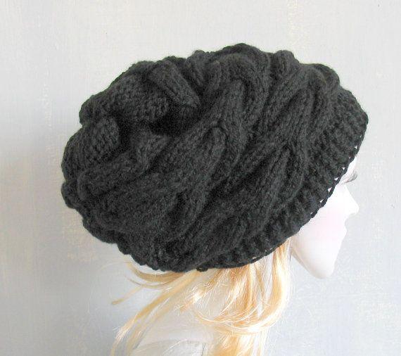Slouchy Beanie Black Slouchy Beanie Slouchy Knit Hat Women