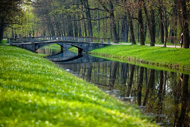 Canals of Catherine Park in Tsarskoye Selo (Pushkin), south of St Petersburg, Russia