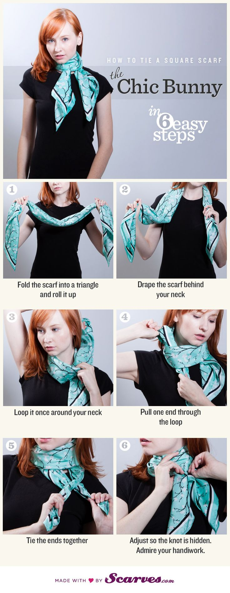 Source: Scarves.com 7. The Chic Bunny Square scarves can be another tricky scarf to tie fashionable, because they have much less material. They are mostly used to add some detail to an open neckline and can even be added to your hair! Scarves.com is your go-to place for both buying and styling your scarves! Source: ClassySassyBlog.comContinue Reading...