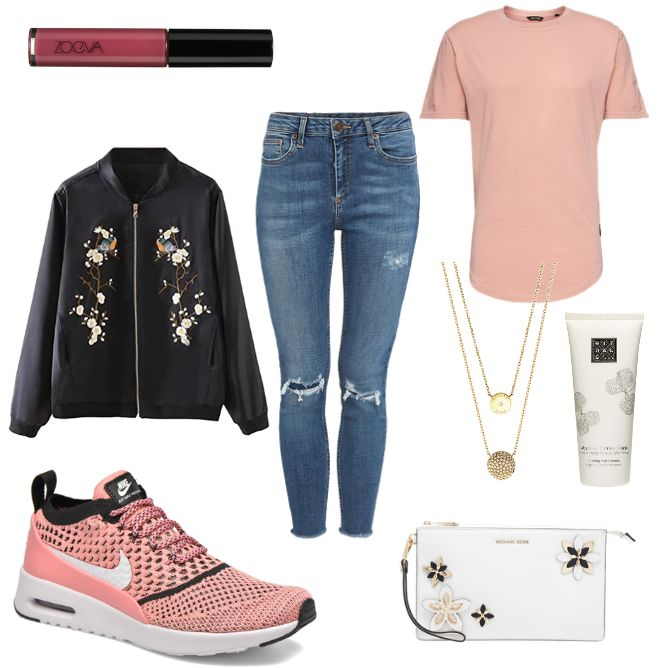 OneOutfitPerDay 2017-03-14 - #ootd #outfit #fashion #oneoutfitperday #fashionblogger #fashionbloggerde #frauenoutfit #herbstoutfit - Frauen Outfit Frühlings Outfit Outfit des Tages Bomberjacke Clutch Fliegerjacke Halskette Jacke Jeans Michael Kors MICHAEL Michael Kors Nike ONLY Only & Sons Rituals Rosa Skinny SMITHROAD Sneaker T-Shirt Thea Urban Outfitters ZOEVA