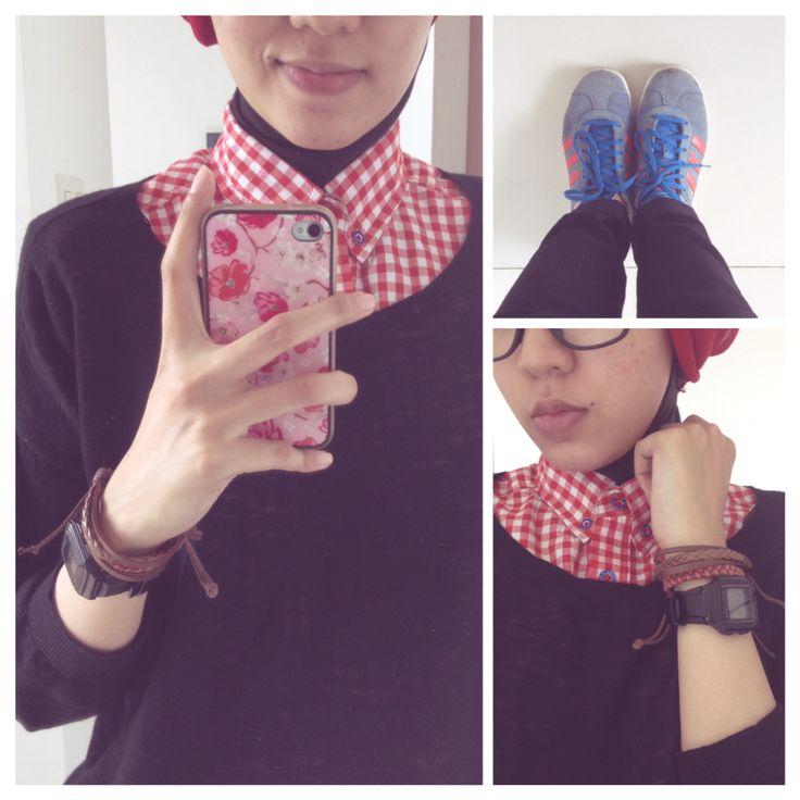 #ootd hijab style : knit over shirt, adidas, turban, bracelet #fien