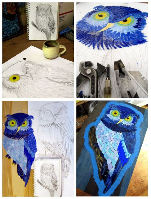 This is how the owl mosaic was made. Brilliant.  By Kasia Polkowska