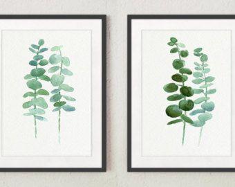 Eucalipto Giclee Fine Art Print set 2 verde botánica hojas escandinavo estilo comedor sala cartel decoración de la pared, pintura de hoja