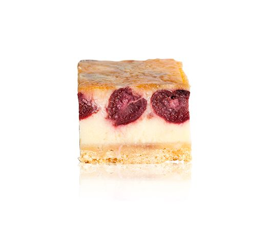 French Custard - A shortbread base topped with French custard and sour cherries and glazed