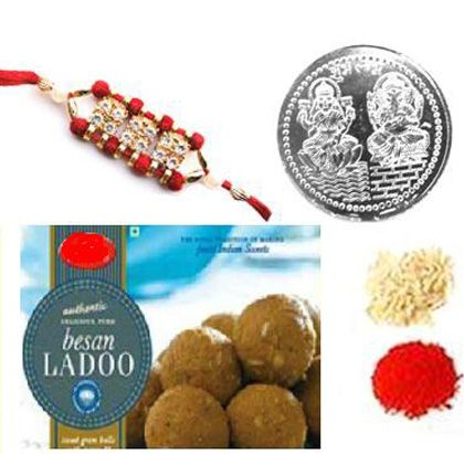 Single Rakhi with Besan Laddoo - Rakhi To Dubai
