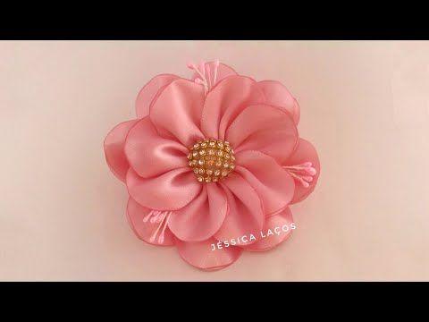 украшение на пучок в школу из лент МК Канзаши Алена Хорошилова tutorial ribbon bows flower diy bow - YouTube