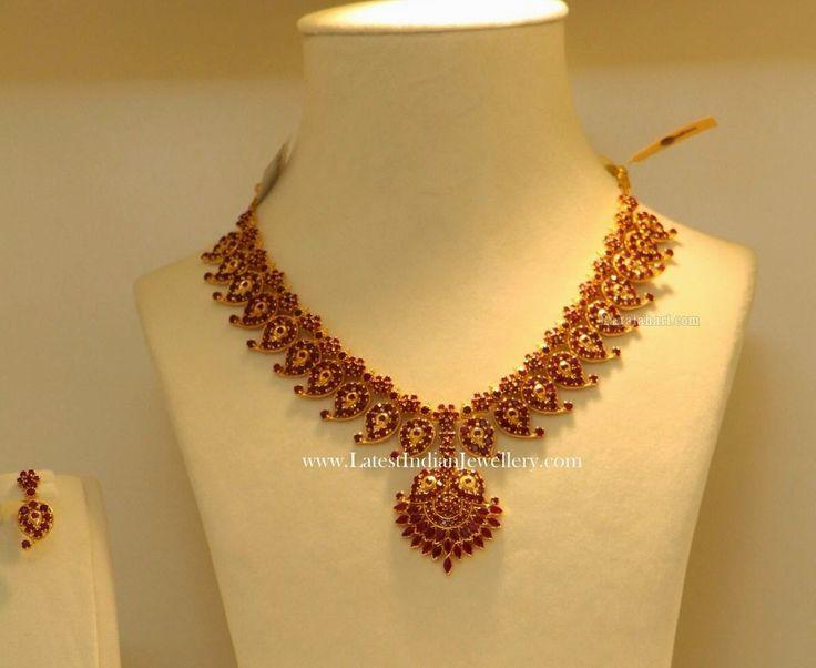 Traditional Ruby Mango Mala Necklace