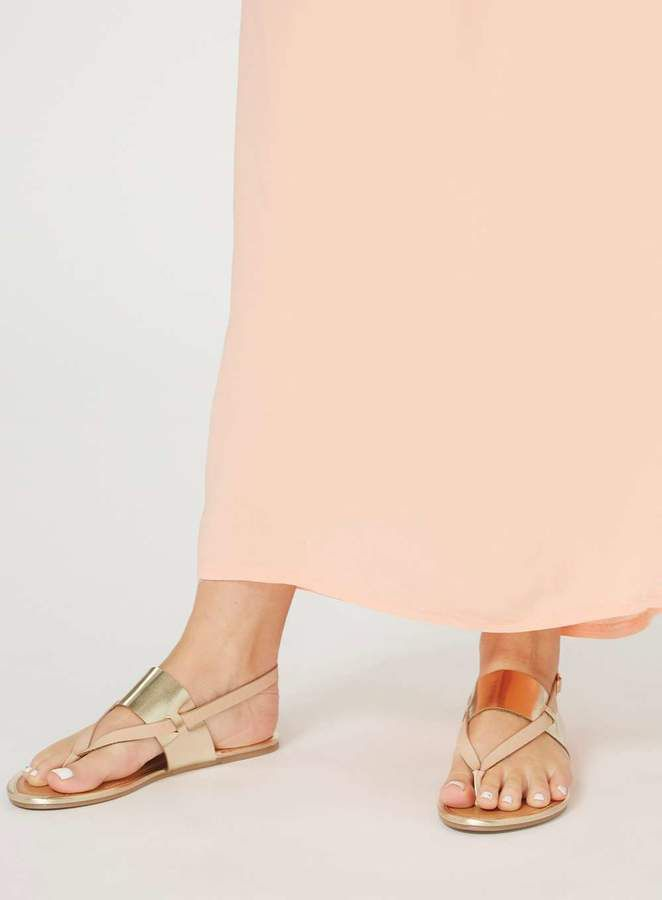 fbbd6cf182ec04 Wide Fit Nude  Future  Sandals. Cute metallic sandals with straps perfect  for summer with a skirt