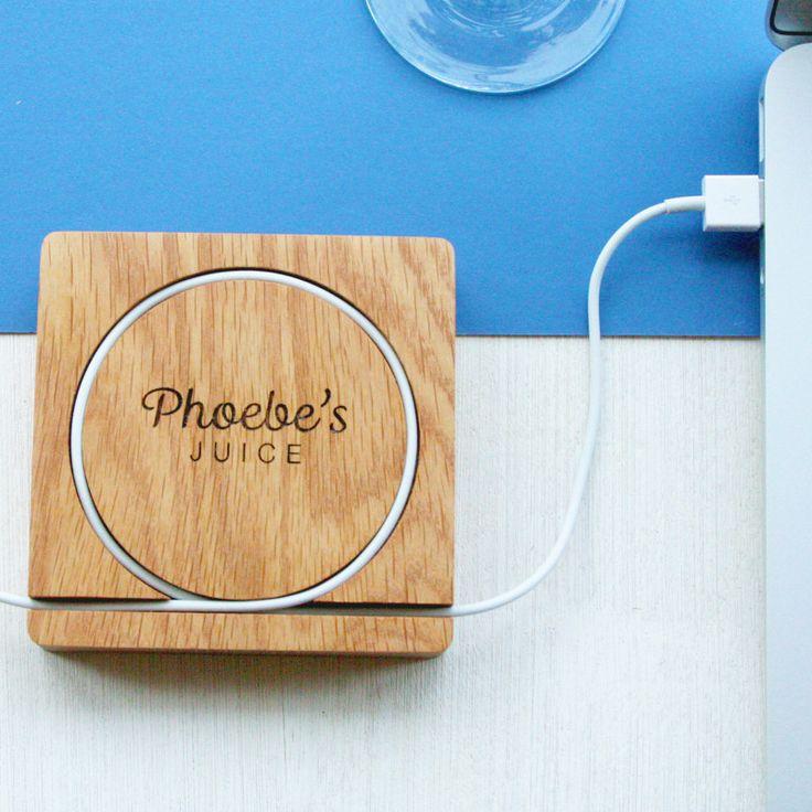 Personalised chunky solid oak desk tidy coaster | hardtofind.