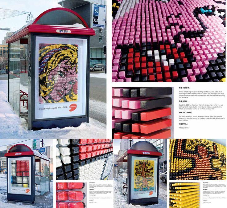 Reklamiranje firme Deserres Art Store i proizvoda za umetnike: umetnička dela od bojica i flašica  Firma Deserres Art Store je rasprostranjena širom Kanade sa svojim modernim, prostranim i šarenim prodavnicama koje obezbeđuju materijal i pribor umetnicima.  Firma Deserres Art Store je htela ovim reklamiranjem da pokaže kako ima veleprodajne magacine koji mogu da snabdevaju umetnike, slikare, dizajnere, grafičare, zanatlije, entuzijaste, decu i studente raznoraznim  www.sajtoteka.com
