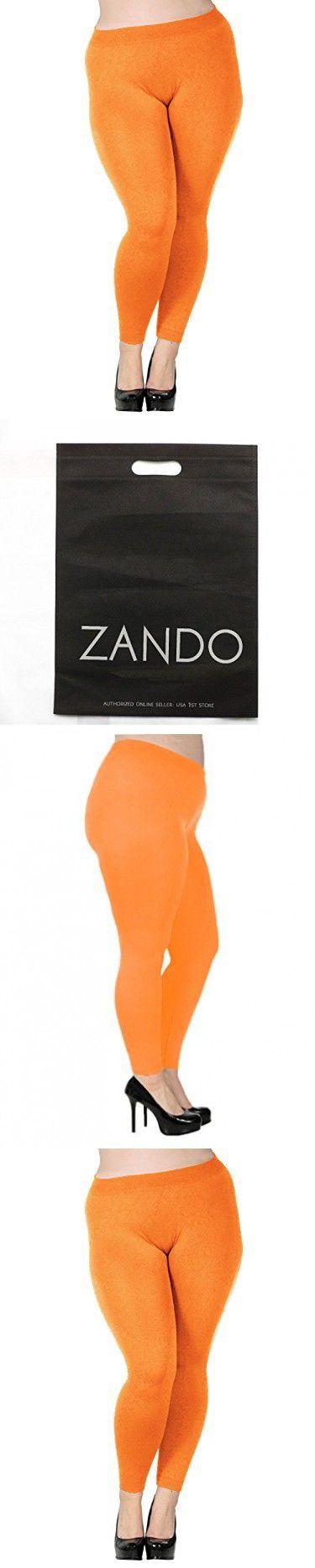 Zando Women's Plus Size Basic Leggings Stretch Lightweight Full Length Yoga Pants H Orange US 3X Plus