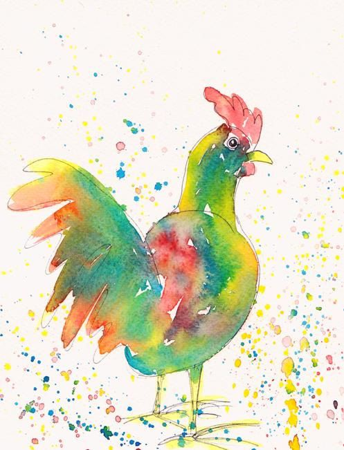 Bright Colourful Chicken Megan Original Watercolour Painting Watercolor Art ($72)