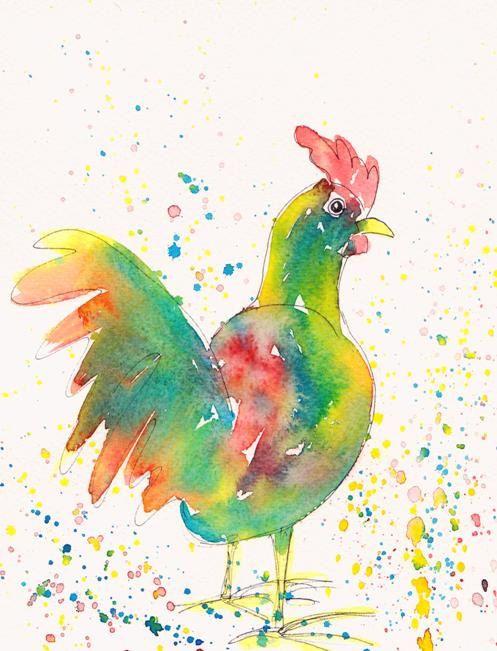 Bright Colourful Chicken Megan Original Watercolour Painting Watercolor Art ($72)