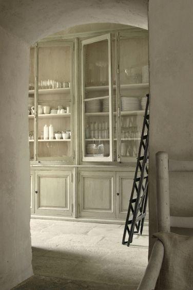 French antique white on white pantry