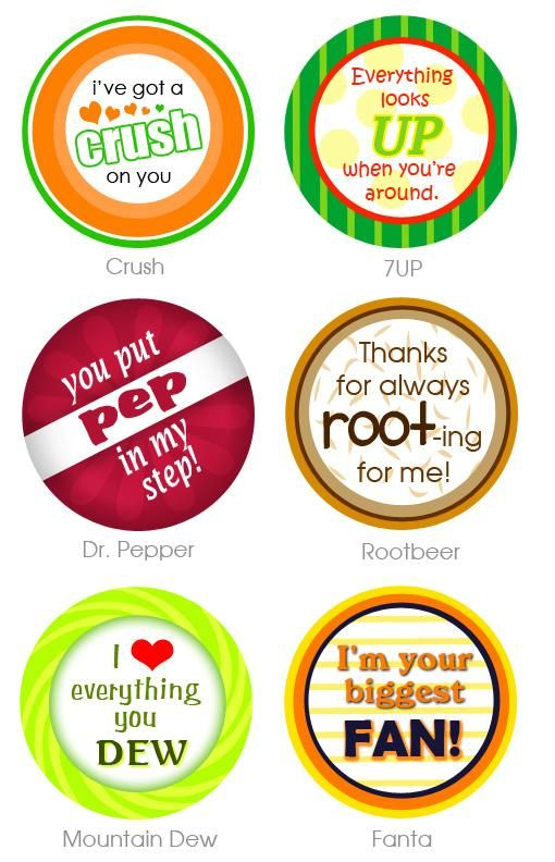 {Free} Teacher Appreciation Gift tags, Soda pop (Mountain Dew, 7-up, Dr. Pepper, A&W Root Beer, Mountain Dew, Fanta, Orange Crush)