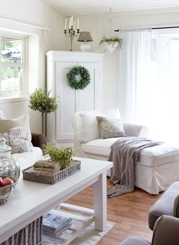 Living room Whitewashed Cottage chippy shabby chic french country rustic swedish decor idea. ***  Repinned from lookslikewhite ***.