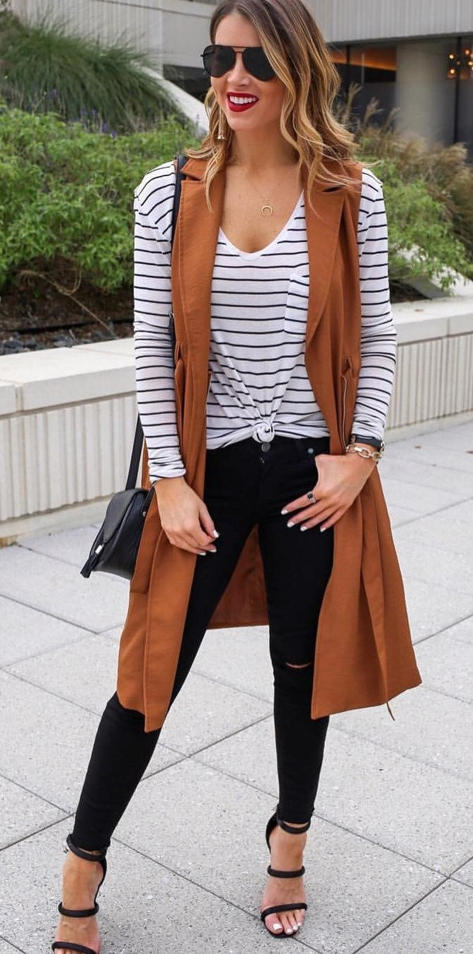 #fall #outfits women's black and white scoop-neck shirt and distressed black jeans with brown sleeveless cardigan