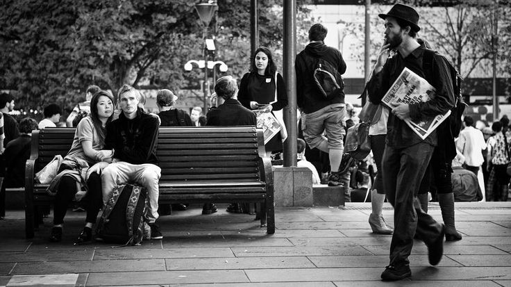 You, watching me, watching him, watching him - black and white street photography