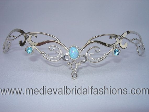Blue Fire Circlet,  Bridal Tiara, Silver Headpiece, Celtic Wedding Headpiece, Medieval Crown, Headdress, Diadem