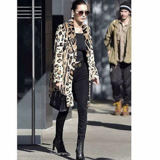 Celebrity Style | 海外セレブリティ最新スタイル情報 : 【ベラ・ハディッド】レオパード柄コート×黒スキニーでスタイリッシュなアニマルコーデ!