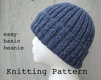 Easy Knitting Pattern For Toque : Knitting Pattern Easy Hand Knit Beanie Hat Watch Cap Men/women Pattern gift...