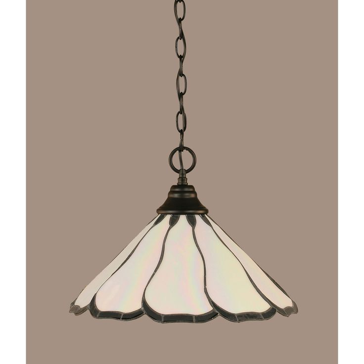 Matte Black 16 Inch One Light Chain Hung Pendant With Pearl Flair Tiffany Glass Toltec Lig