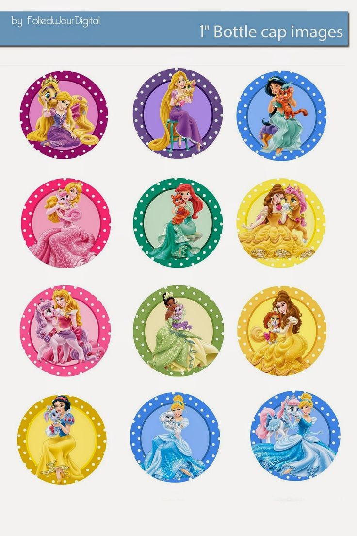 "More in my blog ! Folie du Jour Bottle Cap Images: Disney Palace pets and princess free digital bottle cap images 1"" 1inch"