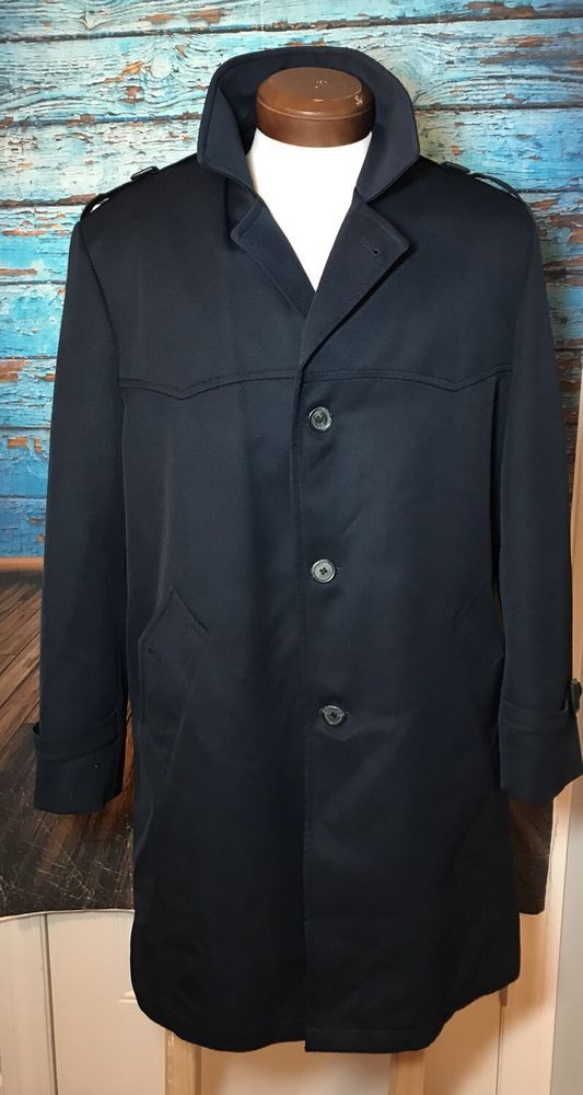 BOTANY WEATHERTOPPER Men's Navy Blue Trench Coat 42R All-Weather Lined Sz 42 R  | eBay