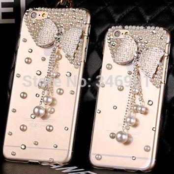 Чехол своими руками чехол для iphone 6 чехол для iphone 6 большой, 5,5 дюйма чехол для iphone 6 большой, роскошь бабочка жемчуг кулон прозрачный пк раковина чехол для iphone 6 ( 4,7 дюймов )
