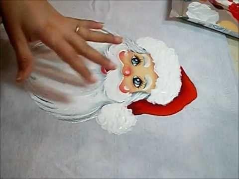 PINTURA EM TECIDO - Acabamentos do Papai Noel painting Santa video # 3