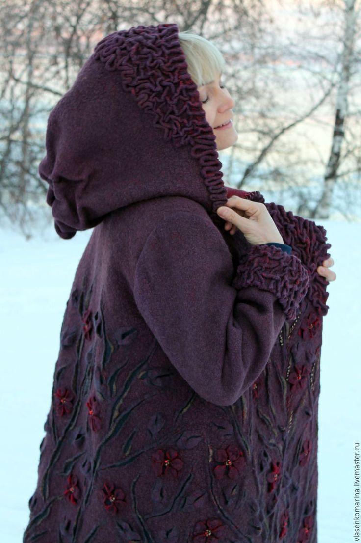 Купить Пальто валяное Ежевика - бордовый, цветочный, пальто, пальто валяное, шерстяное пальто