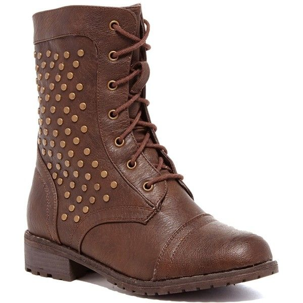 Legend Footwear Timberly Combat Boot ($6.75) ❤ liked on Polyvore featuring shoes, boots, brown, mid-calf boots, lace-up ankle boots, brown mid calf boots, short brown boots, combat boots and military boots