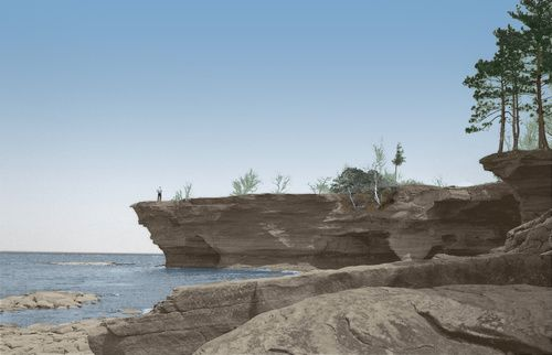 Port Austin, MI : Turnip Rock, Point Aux Barques, Port Austin, Michigan - 1964