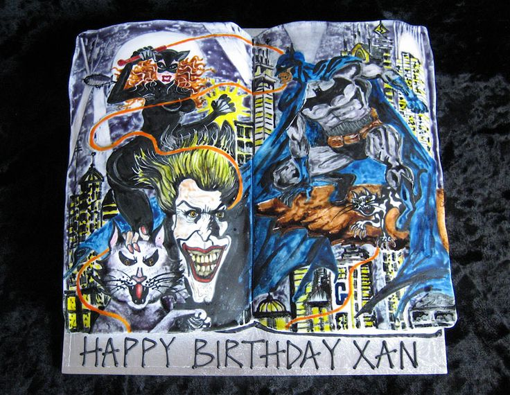 Hand painted Superhero cake for a Batman/comic book fan