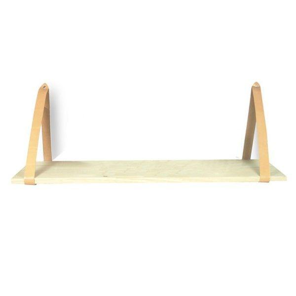 Estante de madera con cintas de cuero para sujetar