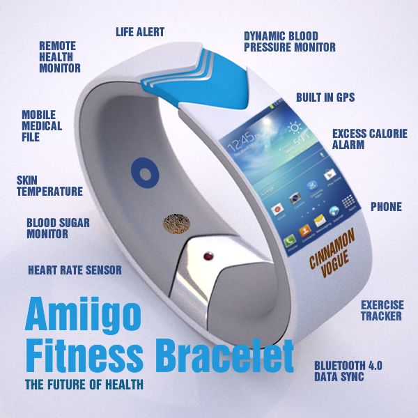 The 2013 Amiigo Fitness Bracelet makes Health and Fitness extreme fun. It tracks your vitals and can post your workout to Facebook. Just for fun we tweaked it even more to show the possibilities of some extreme health sensors. But fitness bracelets are trending up.