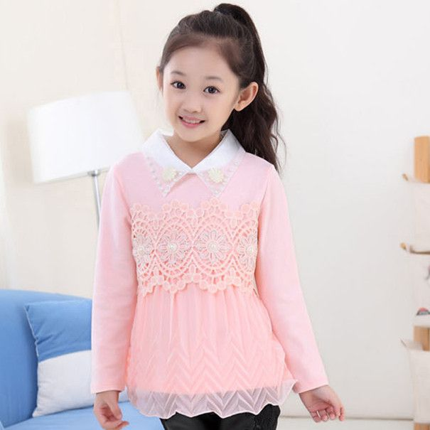 11.11 Christmas Clothes 4-12Y Autumn Girls Blouse Children Clothing Child School Shirt Long Sleeve Lace Blouses KD-1640