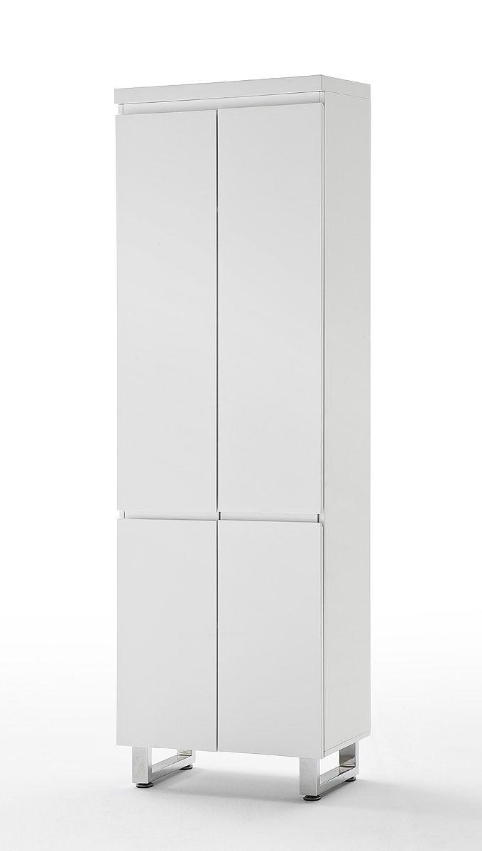 New Garderobenschrank Bianco Hochglanz wei passend zum M belprogramm Bianco x Garderobenschrank mit T ren ausziehbare Kleiderstange