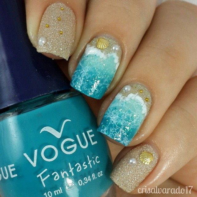 Beach Inspired Nails With Golden Seashell Embellishments and Pearls