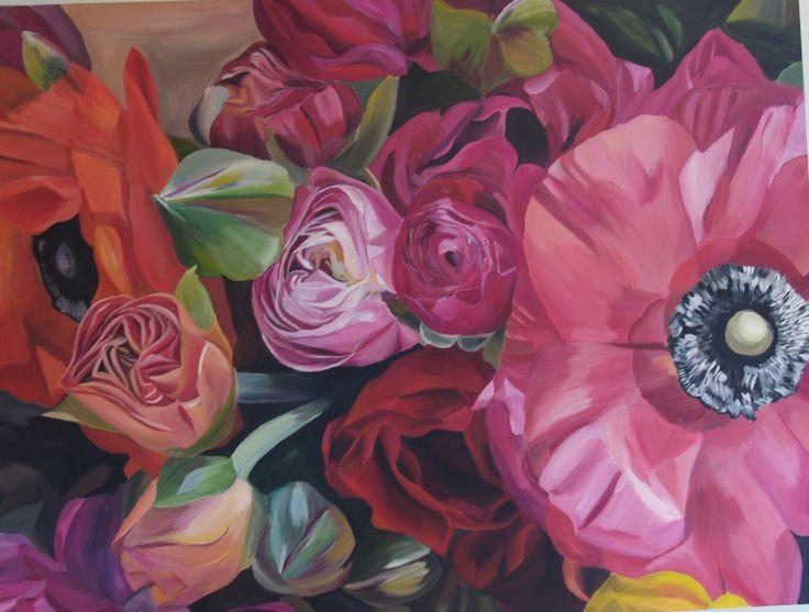'Summer Blooms' Emma Targett 90 x 120cm acrylic on canvas www.emmatargett.com