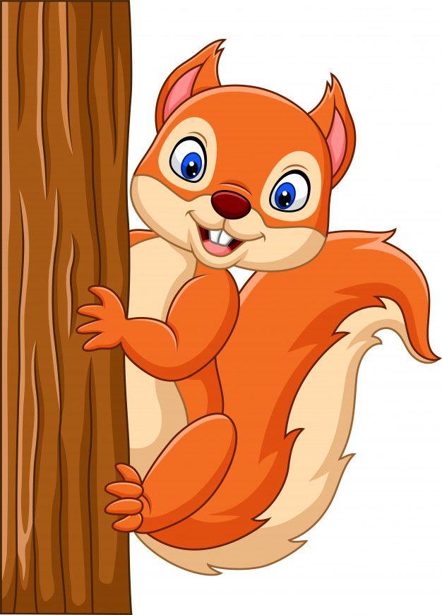 Cartoon Cute Squirrel Climbing On A Tree Animal Caricature Cartoon Art Drawings For Kids