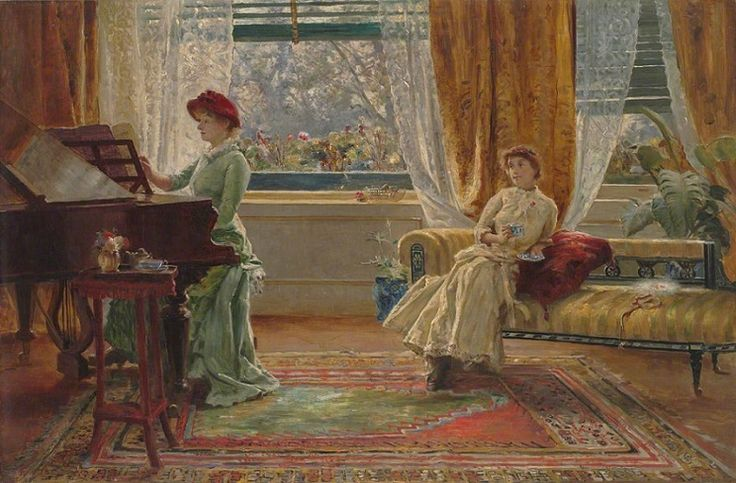 Arthur Trevor Haddon (British, 1864-1941) – An Interior with Two Women, c.1886 (Oil on canvas. Geffrye Museum, London) – Haddon was both an oil painter and watercolorist who specialized in landscapes, seascapes and the country genre. He was also a skilled portraitist and painter of figures. In 1883, at the age of 19, he won a 3 year art scholarship to the Slade schools in England and later studied painting in Rome and Madrid…(Németh György)