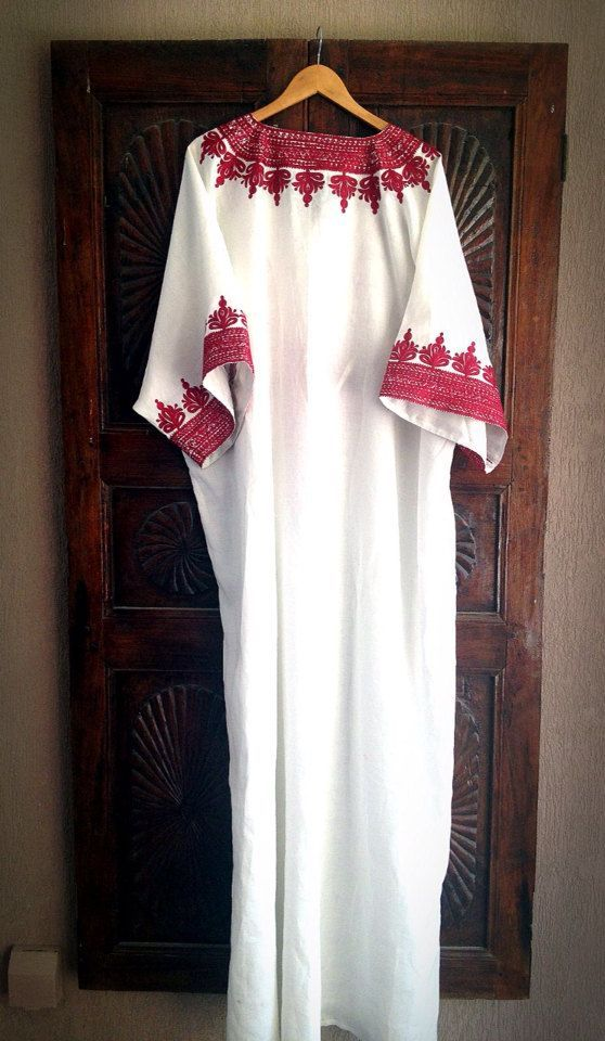 Hijab Fashion 2016/2017: Kaftan white linen caftan long maxi dress by ArabianThreads $190.00