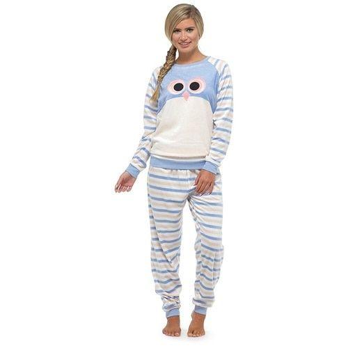 8ac3d8cd0e33 Ladies Supersoft Velour Fleece Cosy Animal Twosie  Blue Owl