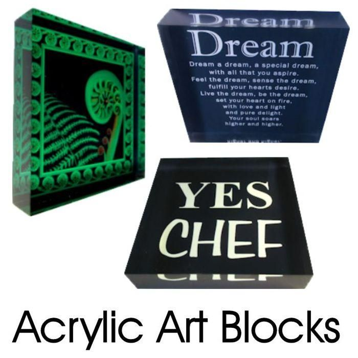 Acrylic Art Blocks.  A lovely gift. The image is printed directly onto the back of a 90mm x 90mm x 20mm acrylic art photo block.  Natural light illuminates the image and gives a 3D effect. Wall mount or freestanding. From Chelsea DesignNZ.