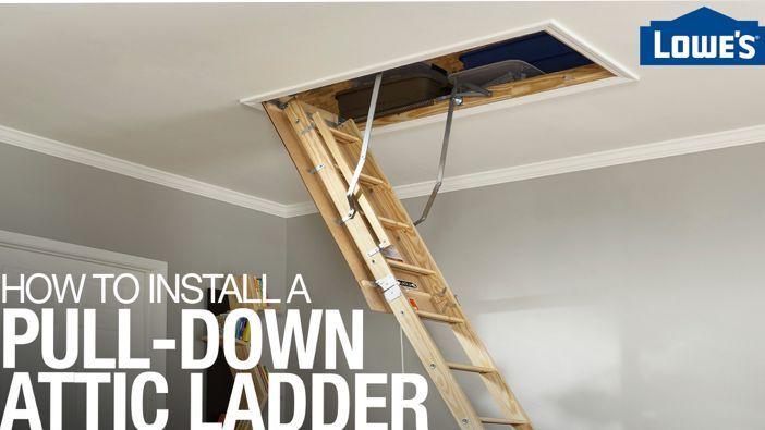 How To Install Pull Down Attic Stairs In 2020 Attic Ladder Attic Access Ladder Stair Installation